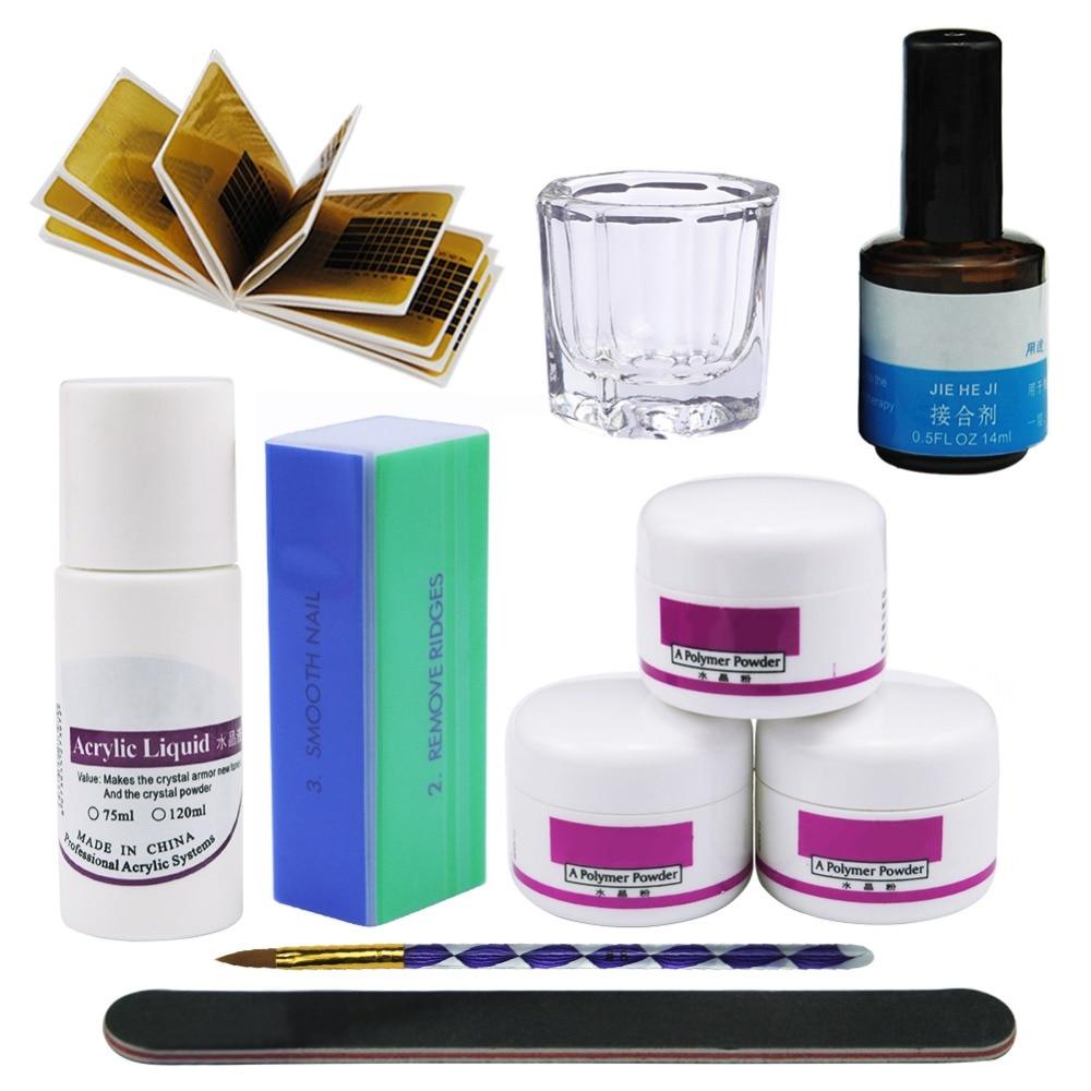 75ml Acrylic Liquid And 3pcs Crystal Powder UV Gel For French Nail Extension Tips False Nail Art Tools Manicure Tools Nail Brush