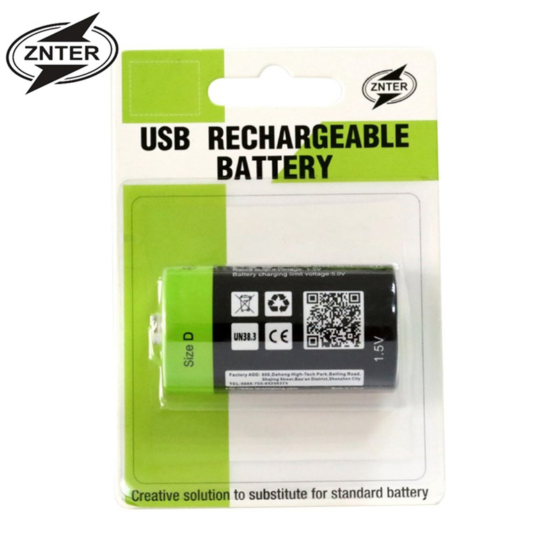 Hot Sale ZNTER S11 1.5V 4000mAh USB Rechargeable D Lipo Battery USB battery with USB charging line