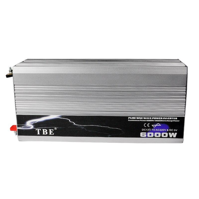 Onduleur à onde sinusoïdale Pure 6000 W DC 12 V à AC 220 V onduleur à énergie éolienne solaire puissance de pointe onduleur 12000 W