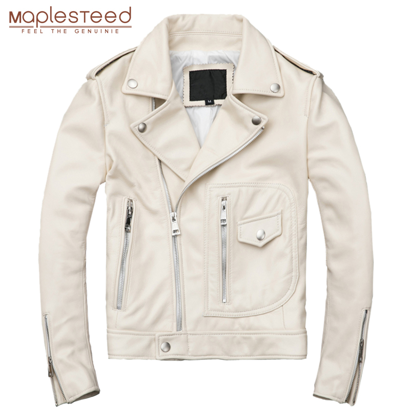 MAPLESTEED Women Leather Jacket White 100% Natural Sheepskin Female Genuine Leather Coat Ladies Leather Clothing Autumn M117w