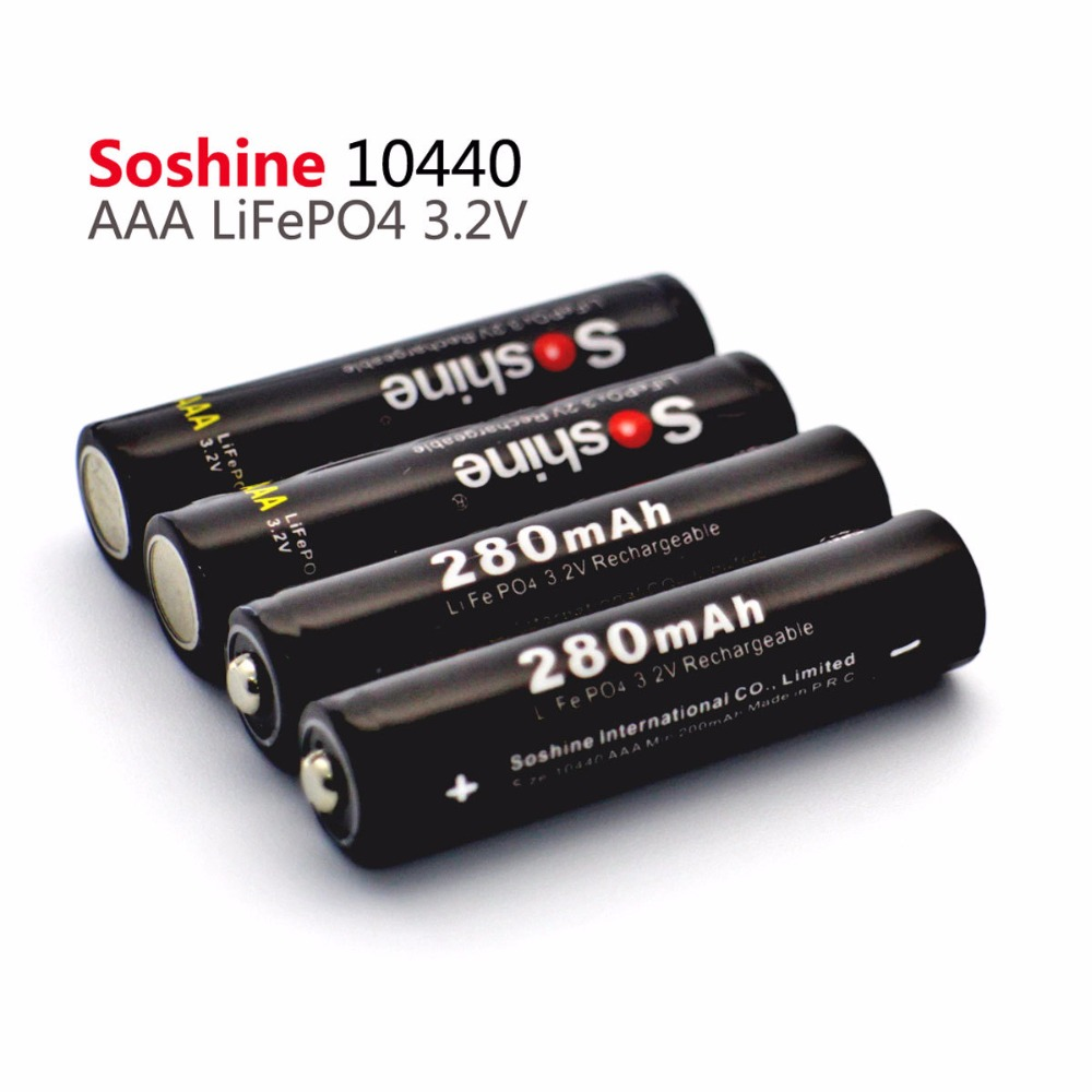 4PCS/Pack Soshine Safe Transport LiFePO4 10440 3.2V 280mAh Rechargeable Battery with Battery Box batteries connector image