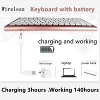 Wireless Keyboard 2.4GHz Mini Slim USB charger battery 78Keys For apple PC,Smart TV,HTPC Android Windows10/8/7/Vista/XP