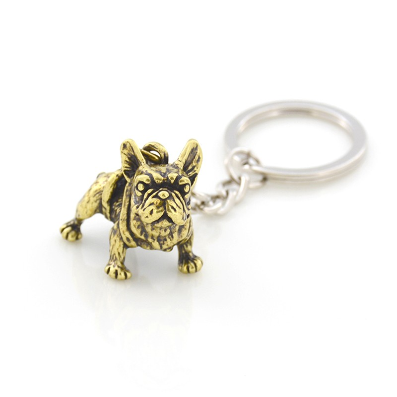 French Bulldog Puppy Image Black Leather Keyring in Gift Box