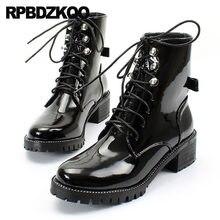 0e8c3d30 Arco Británico Ata Para Arriba Militar Fornido Combate Ejército Zapatos Semental  Charol Remache Otoño Tobillo Impermeable Mujere.
