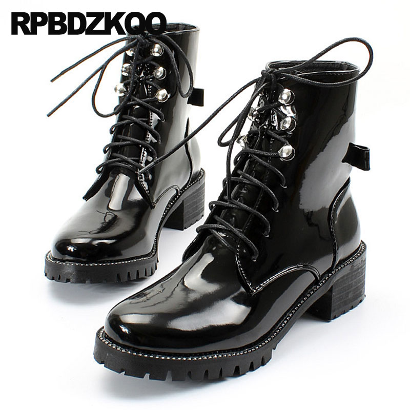 Bow British Lace Up Military Chunky Combat Army Shoes Stud Patent Leather Rivet Autumn Ankle Waterproof Winter Boots Women Metal