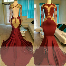 Mermaid African Prom Dress For Black Girl Burgundy Backless Gold Appliques Lace Illusion Dress For Graduation цены