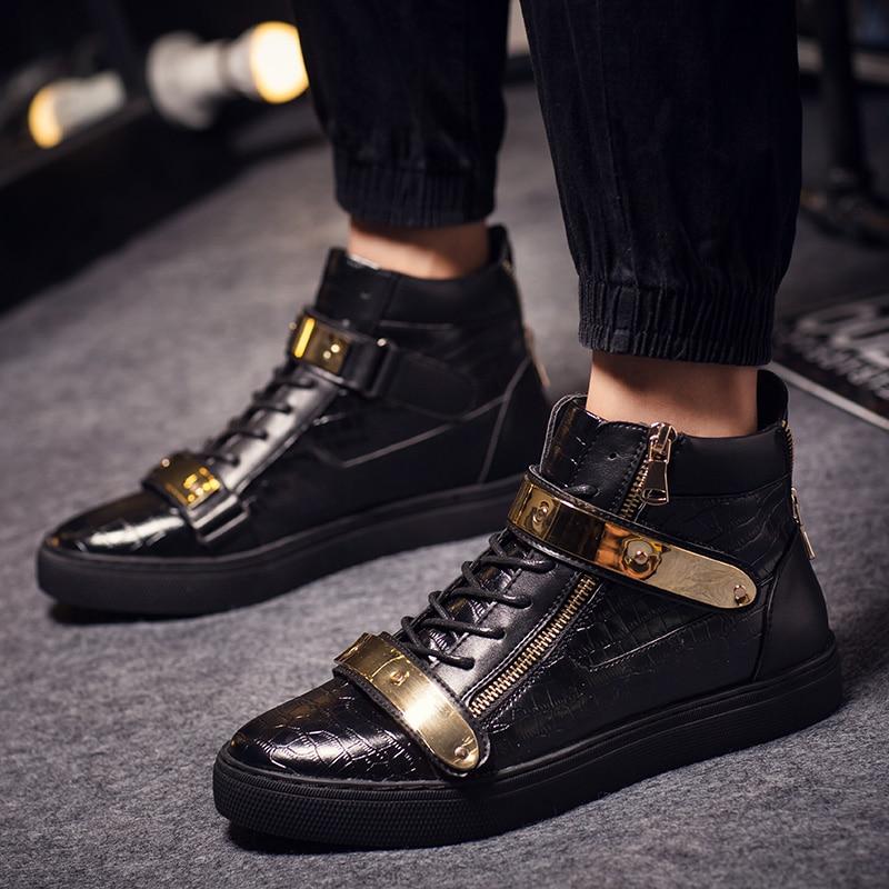 Boost Hombres Zip Nuevos Bling Hombre Lado Stan A Black Planos La Calzado Moda De Alto Tacón Zapatos 4101qwYS