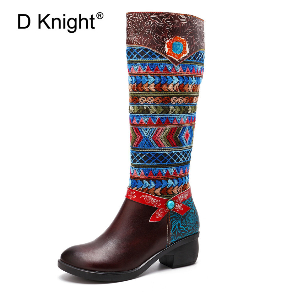 Women Cow Leather Boot Shoes 2019 Spring Autumn Ladies Mid Calf 4cm Heels Shoes Fashion Bohemia Genuine Leather Boots Large Size in Mid Calf Boots from Shoes