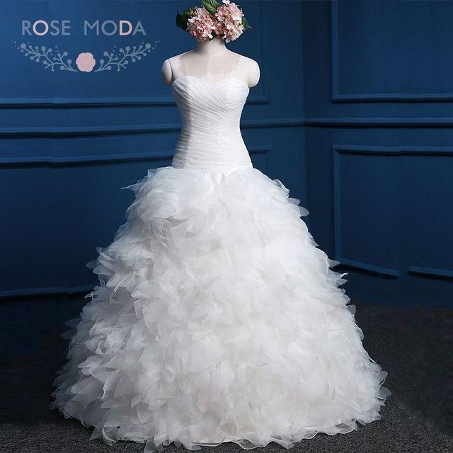 Rose Moda Feder Brautkleid Trägerloser Organza Ballkleid Lace Up ...