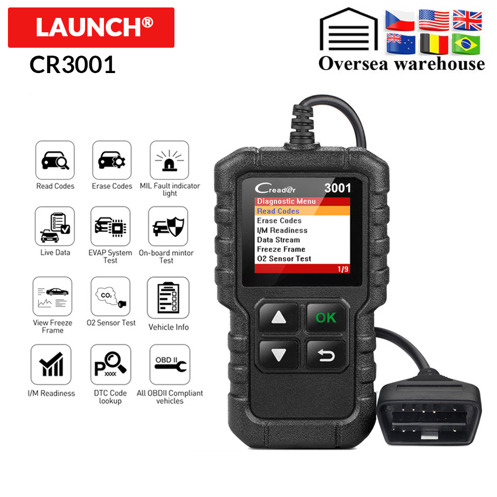 LAUNCH X431 CR3001 OBD2 Scanner Support Full OBD II/EOBD Launch Creader 3001 Auto Scanner diagnostic PK CR319 ELM327 V1.5 v2.1(China)