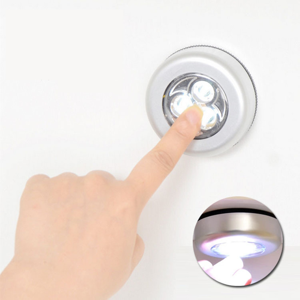 Small Cordless 3LED Under Cabinet Touch Stick On Night Light Closet Kitchen