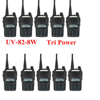 10pcs Baofeng UV 82 8W Dual band dual display dual standby TX&RX 136 174&400 520MHz 2800mAH battery Two way radio