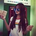 2015 Korean version ulzzang Japanese women's wild rainbow printing Slim round neck short sleeve T-shirt female