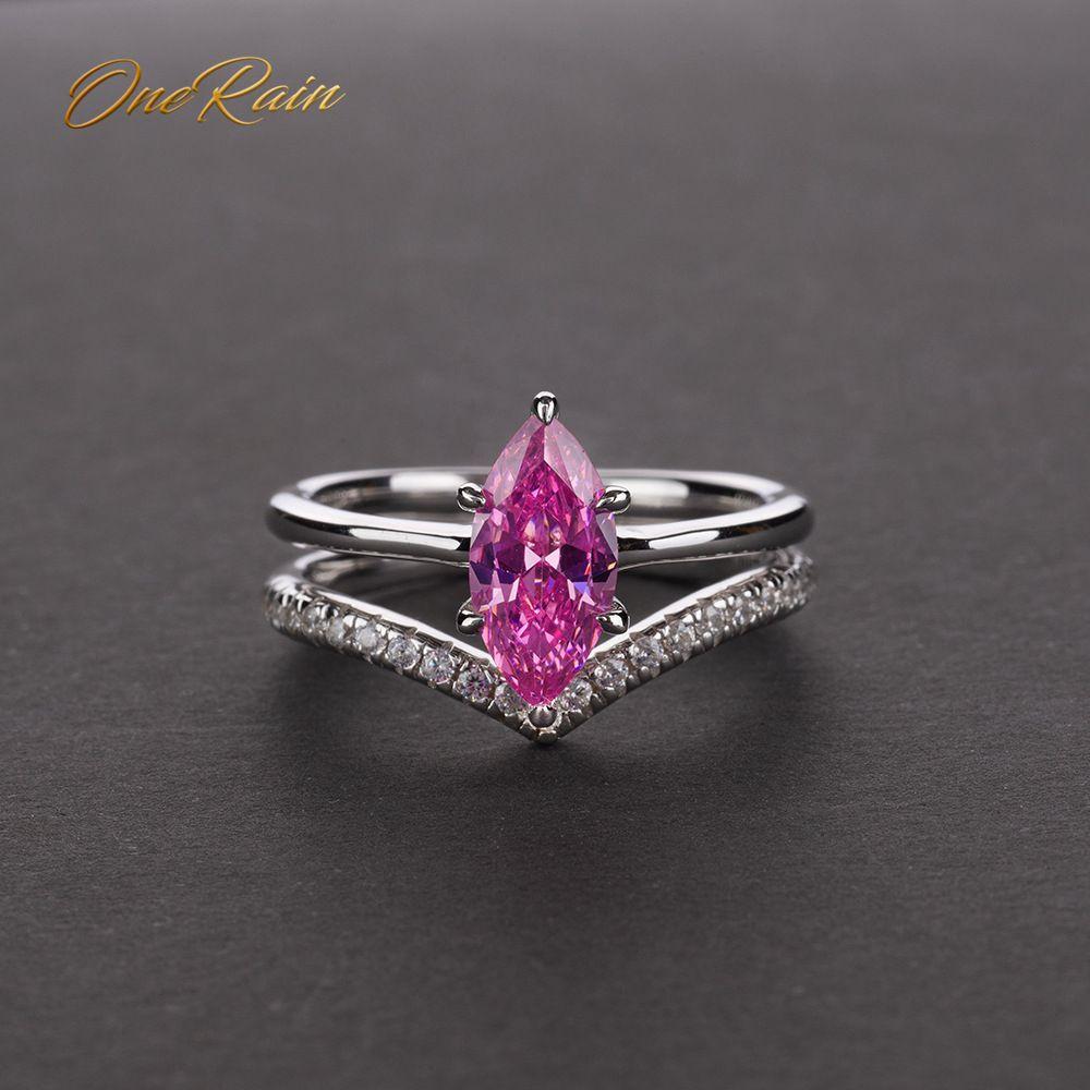 OneRain Vintage 100% 925 Sterling Silver Mariquesa Sapphire Topaz Citrine Gemstone Wedding Engagement Women Men Ring Jewelry