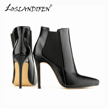 Women's Winter Boots Sexy Pointed Toe Faux Leather High Heels Stiletto Ankle Boots Platform Shoes For Woman 769-2YP