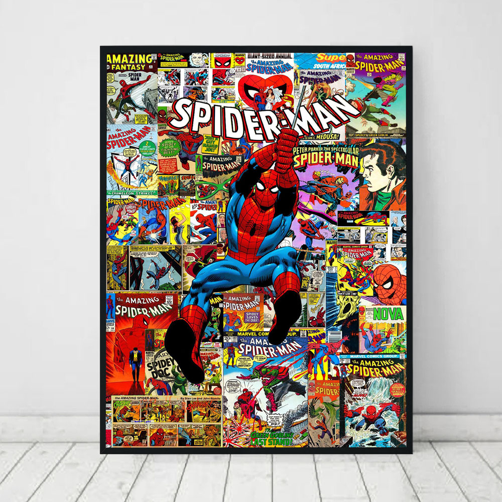The Amazing Spiderman Marvel Comics Super Hero Collage Canvas Wall Art Spiderman Canvas Painting Print Poster Picture Home Decor image
