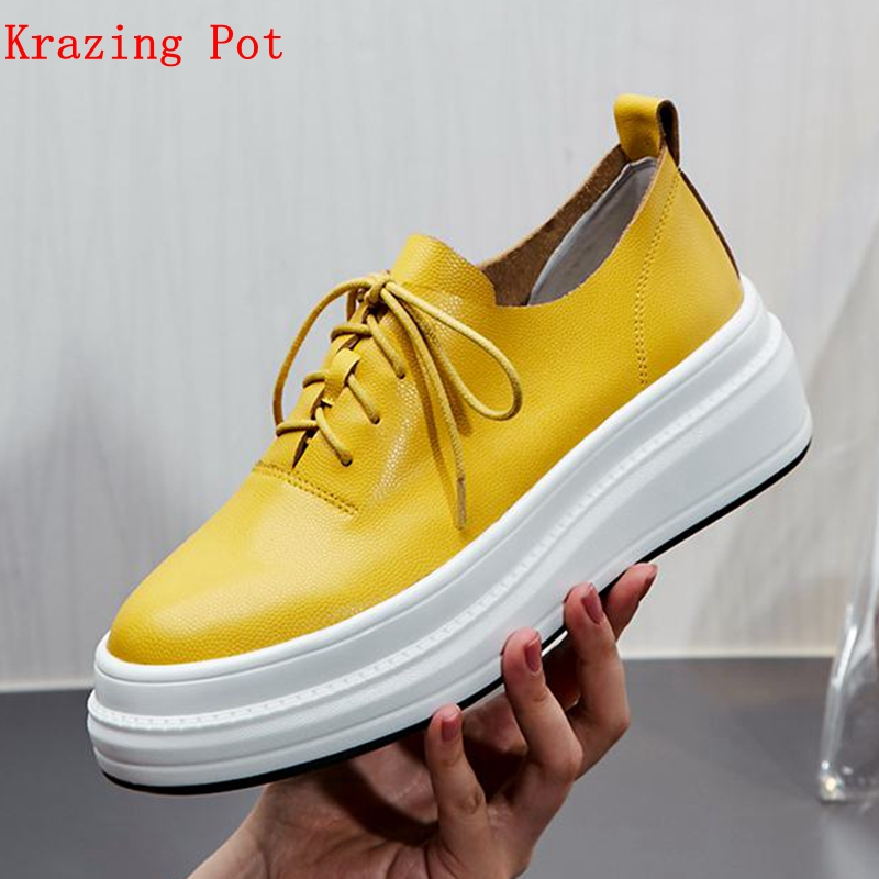 Krazing Pot cow leather flat platform Autumn superstar round toe yellow causal high quality Female snug