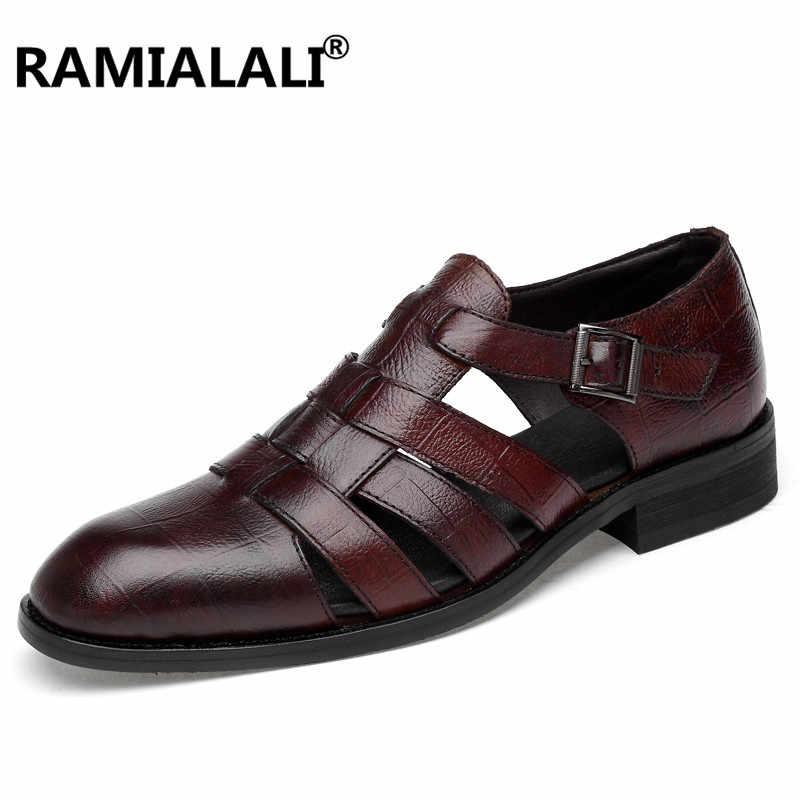 Gerçek Deri Yaz Erkek Sandalet Moda Erkek Deri Sandalet Lüks Erkekler 100% Hakiki Deri Sandalet Yaz plaj ayakkabısı