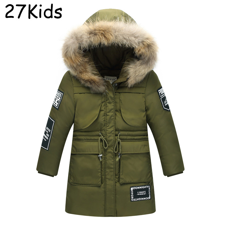 2017 Kids Down Jacket Brand Clothing High Quality Boy Casual Warm Hooded Fur Collar Slim Down Coat Winter Parkas Outerwear 7-14T цены онлайн