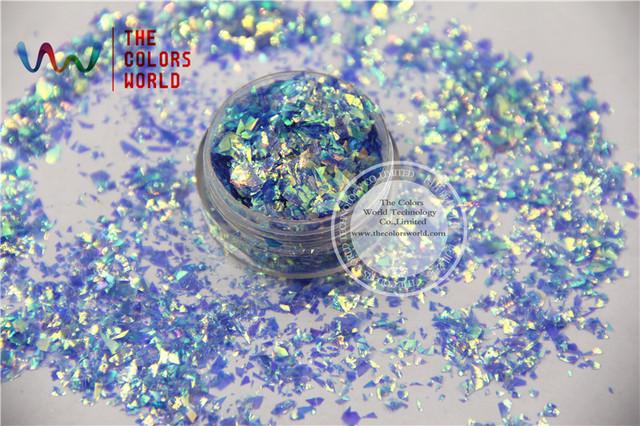 TCR337 Americano Fantasía Azul Iridiscente Colores Al Azar Corte Lentejuelas Brillo de Mylar para el arte del clavo y la decoración de DIY