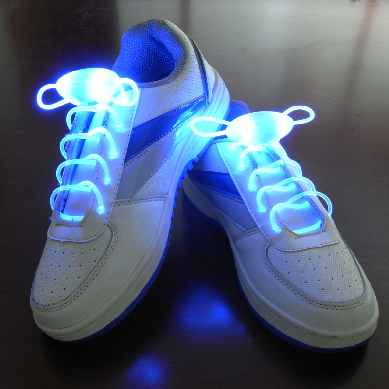 1 Pairs Luminous Led Shoelaces White Yellow Red Green Blue Pink Luminous Sneakers Laces With Button Batter