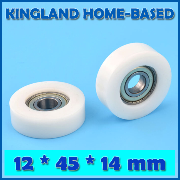 10PCS 12*45*14mm POM Plastic Coated Window Door Roller Flat Type Roller For Drawer Cabinet Window Wheel Bearing Inner Ring 12mm