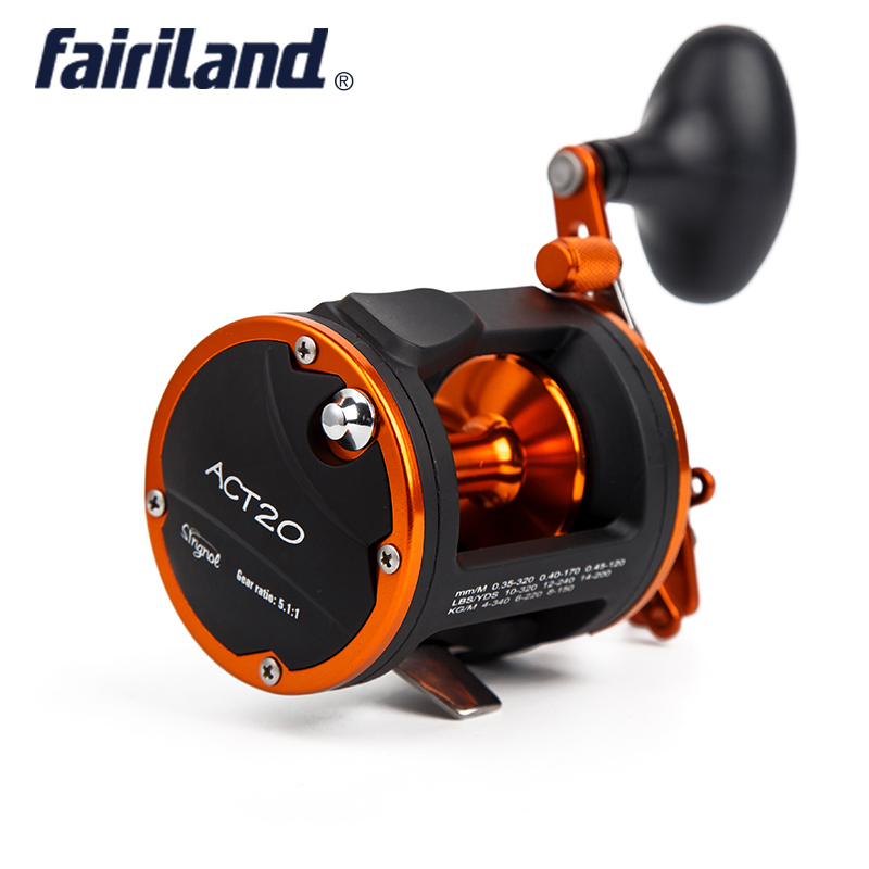 4BB RIGHT HAND 5.1:1 Fairiland Drum Trolling Reel 12Kg Drag Power Boat Fishing Reel 2 Colors(20 A/B) Avail. Saltwater/Freshwater 1pcs ct100 3bb drum fishing reel stainless steel trolling reel boat fishing reel 3 8 1