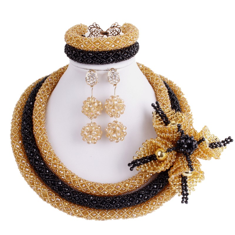 Dudo Black Gold Bridal Dubai Jewelry Sets Women Crystal Beaded 48 CM Necklace Big Handmade Flowers Nigerian Jewellery Set 2019Dudo Black Gold Bridal Dubai Jewelry Sets Women Crystal Beaded 48 CM Necklace Big Handmade Flowers Nigerian Jewellery Set 2019