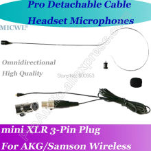MICWL Microfone com fone de ouvido para Mini 3Pin Headset Microphone for AKG Samson Gemini Wireless micwl me2 pro microfone lavalier para lapel microphone for akg samson gemini wireless xlr mini 3 pin