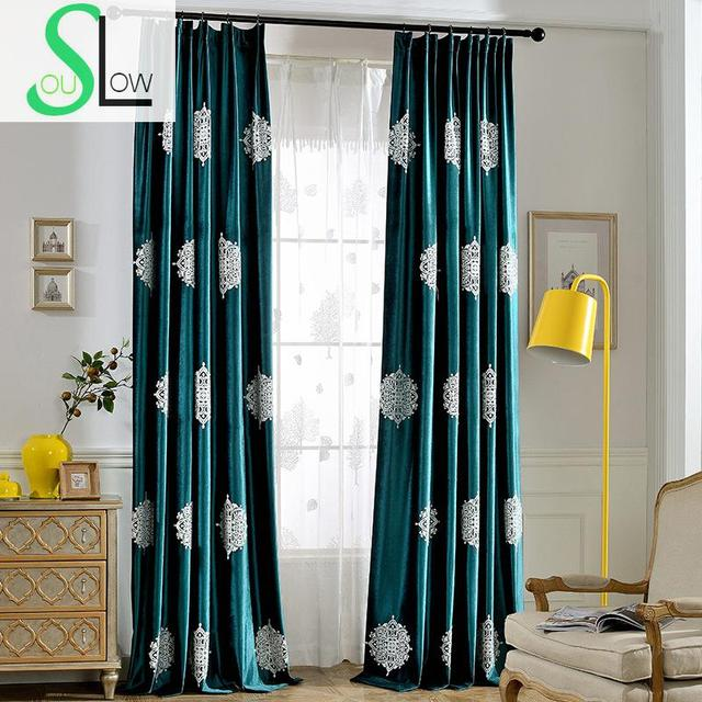 Slow Soul Mark Dark Blue Green Velvet Curtain Bedroom Curtains European  Embroidered French Window For Living
