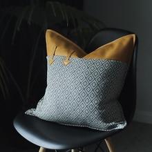DUNXDECO, funda de cojín decorativa, funda de almohada nórdica, Vintage, geométrica, PU, Patchwork, decoración artística para sofá o habitación de alta calidad