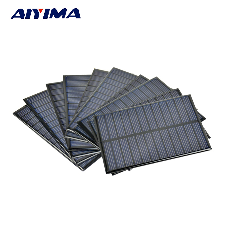 Aiyima 10pcs 6V 1.1W Solar Panel Photovoltaic Solar cells Energy Cell Diy Power Bank Sunpower Cell Portable Charger 112*84mm