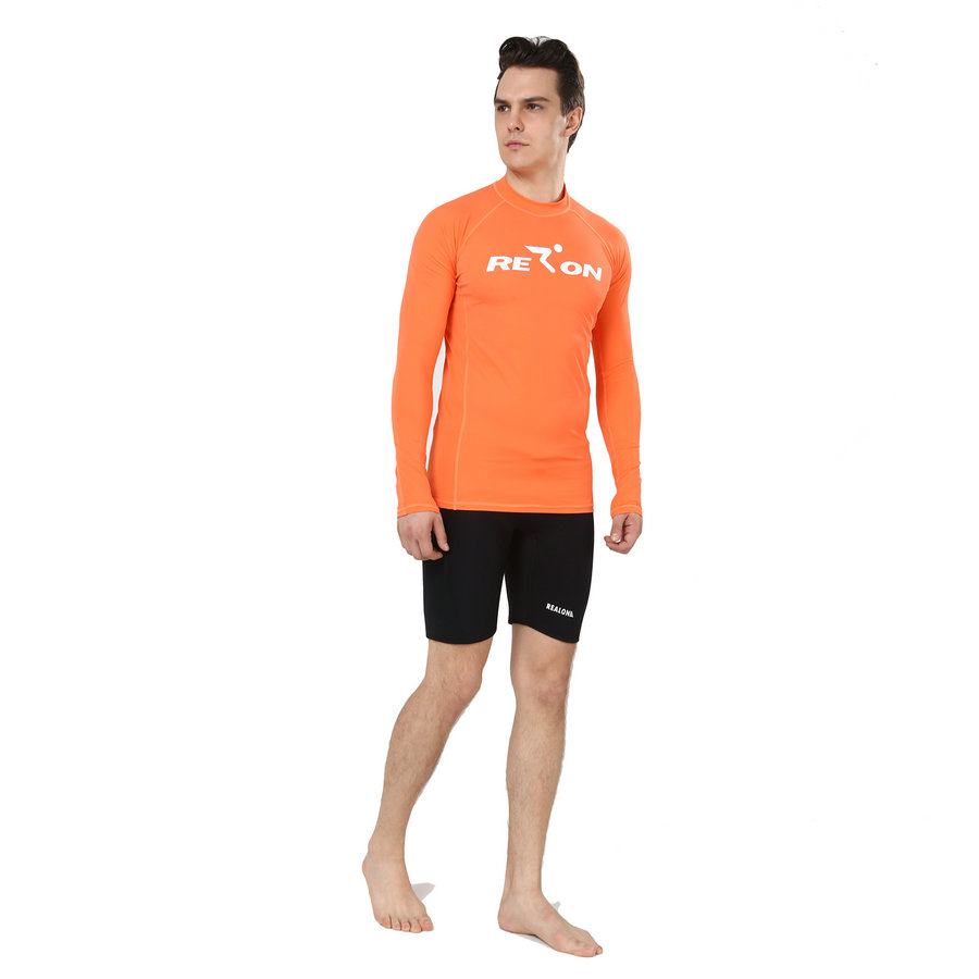 REALON Surf Men s Long Sleeve Rash Guard Top UPF 50 Xspan Swim Diving Suits Shirt