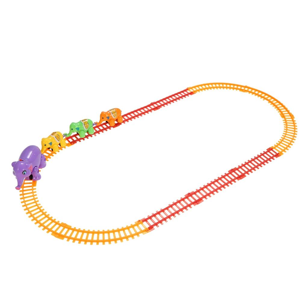 Kids Rail Car Toys Electric Track Car Rail Animal Elephant Run Along Train Track Car Juguetes for Children Boys Gift