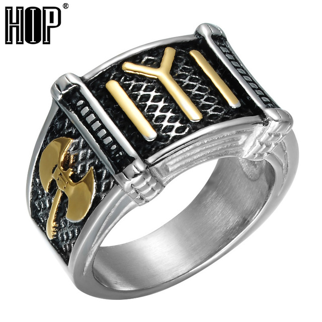 HIP Two Tone Titanium Stainless Steel Axe Ax Rings Ottomans Seal Kayi Ertugrul R