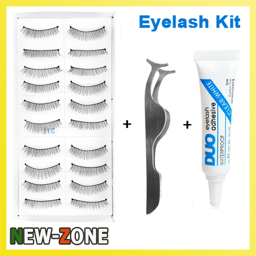 Makeup Flase Eyelash Makeup Kit 10 pairs false eyelash + Clip + Glue Natural Fake eyelas ...