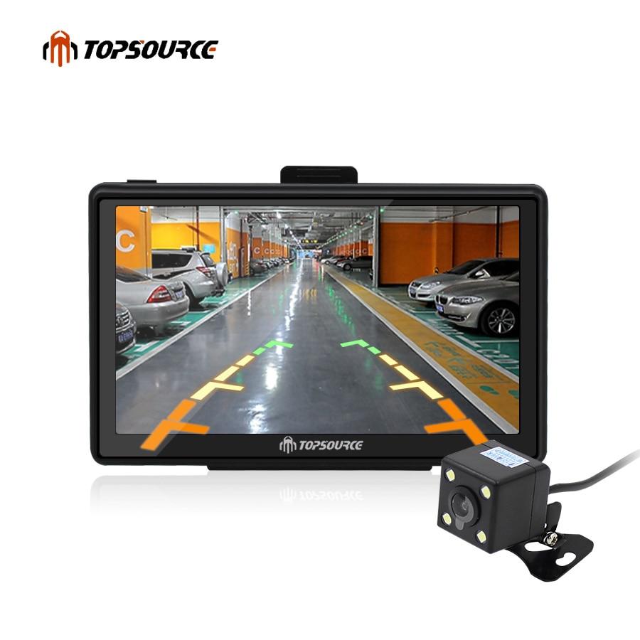 цена на TOPSOURCE 7 HD Car truck vehicle GPS Navigation mtk ce6.0 800Mhz 8GB gps map for navitel/espanol/uk/Europe/USA/spanish Map