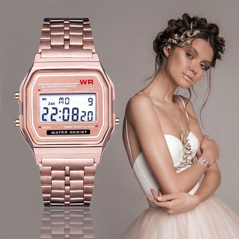 Luxury Men Women Watches  LED Digital Sport Luxury Watch Men Stainless Steel Female Quartz Wristwatches Relogio Feminino Zegare