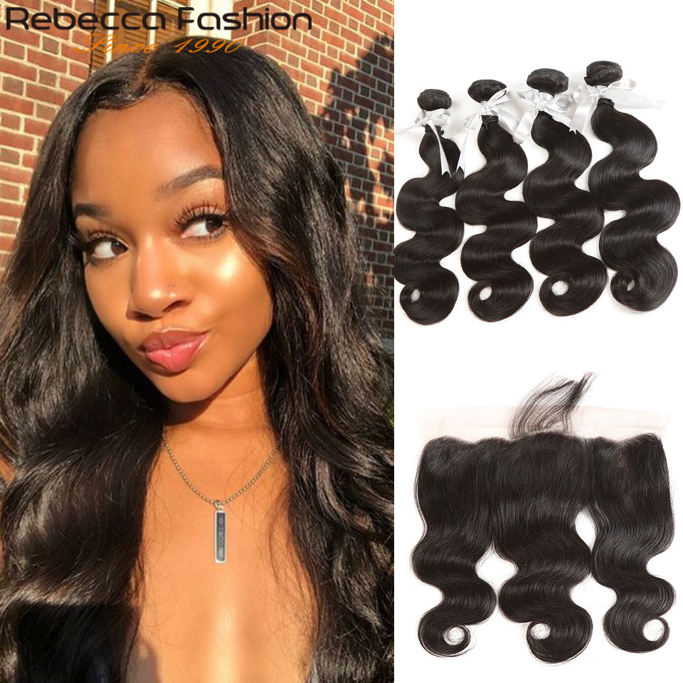 Rebecca Non Remy 13x4 Lace Frontal Closure With Bundles Brazilian Body Wave Human Hair 4 Bundles
