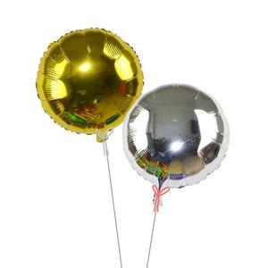 Image 4 - 5 sztuk 18 złoty srebrny balon okrągły ślub balony z folii aluminiowej nadmuchiwane prezent balon urodziny strona dekoracji helu Ball
