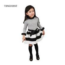 TANGUOANT robe princesse pour filles, tenues de fête à rayures, manches longues, vêtements pour bébés filles