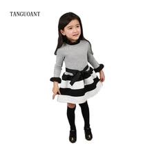 TANGUOANT ベビーかわいい王女のドレスパーティーストライプ幼児長袖子供赤ちゃん服