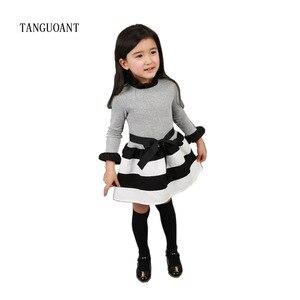 Image 1 - TANGUOANT תינוק בנות שמלת נסיכה חמודה שמלות מסיבת פס פעוט ארוך שרוול ילד תלבושות תינוק בנות בגדים