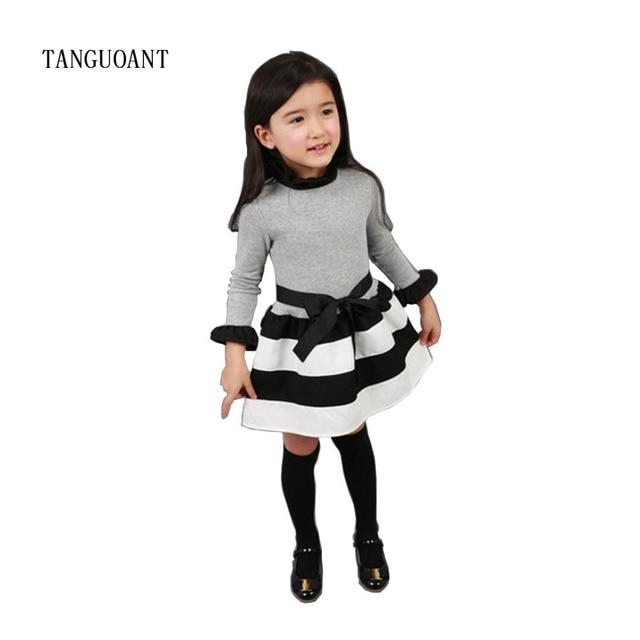TANGUOANT תינוק בנות שמלת נסיכה חמודה שמלות מסיבת פס פעוט ארוך שרוול ילד תלבושות תינוק בנות בגדים