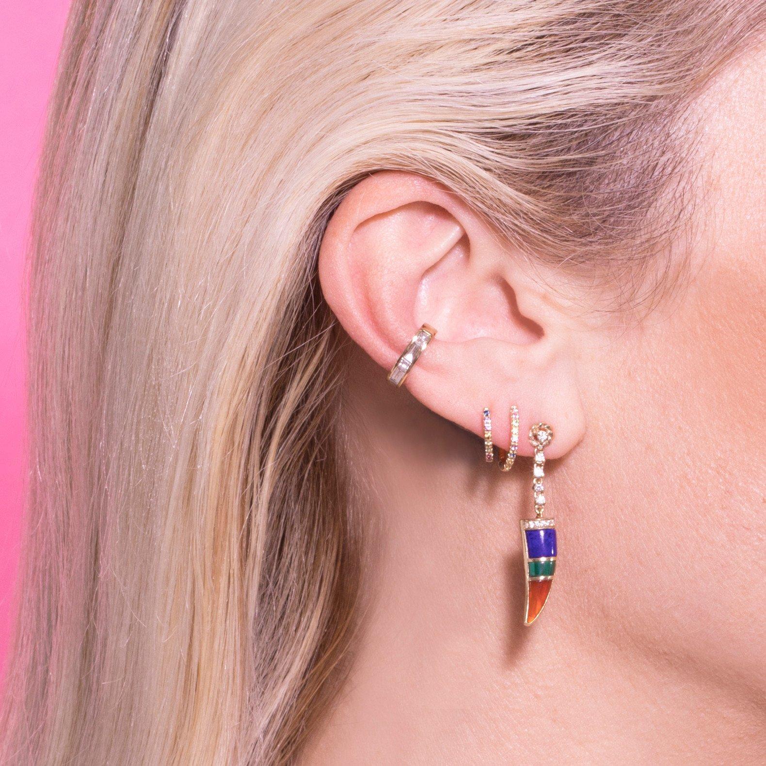 fashion creative Enamel Glaze Horn charm Gold color Vintage modern long women dangle earring