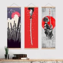 Affiche sur toile avec cintre en bois, affiche murale avec samouraï japonais, décoration de la maison