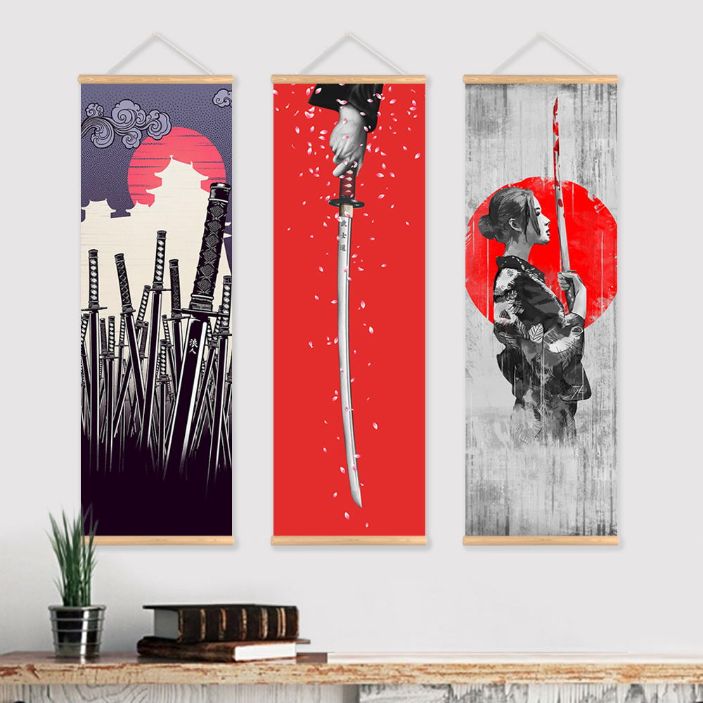 Japanese Samurai Scroll Painting Canvas Print Poster with Wooden - Home Decor