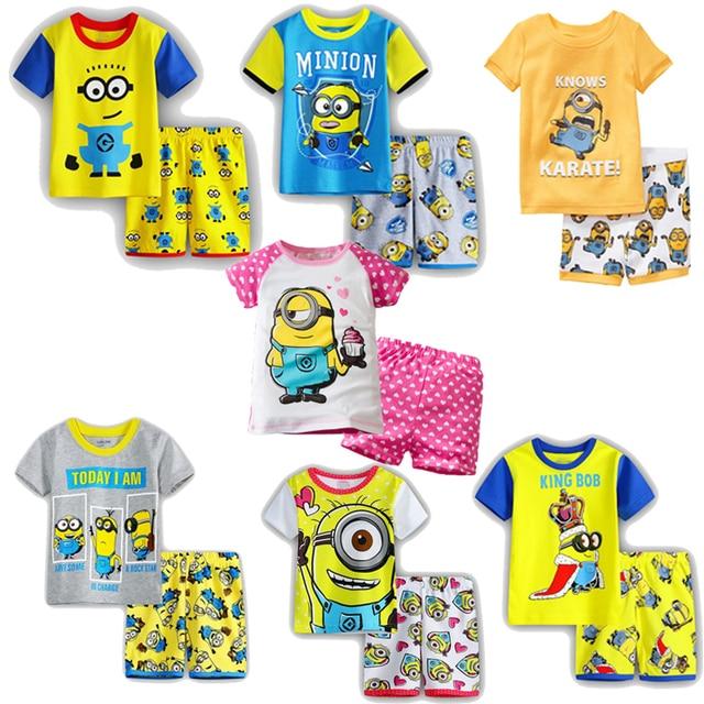 f70873780578 100% Cotton Summer Yellow Minion Children Short Sleeve Pajamas Sets Boys  Kids Cartoon Print Top+Shorts Clothes for 2-7 Year
