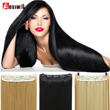 AOSIWIG Long Clip in ins hair Extensions synthetic 100% real natural ha