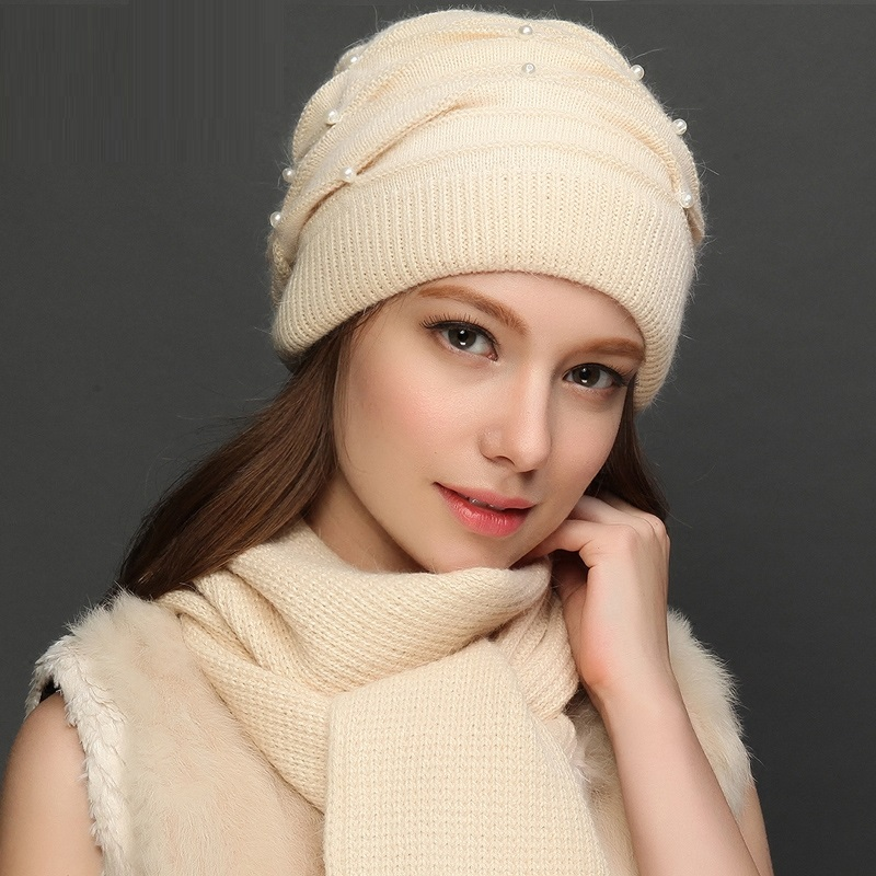 Female Winter Warm Hat Scarf Lady  Handmade Knitted Wool Cap Students Thermal Autumn And Winter Knitted Hat Girls Cap B-7633